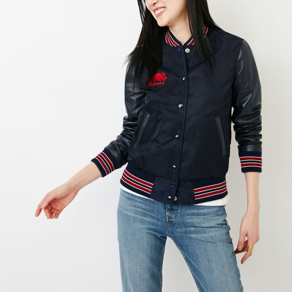 Roots-Women Categories-Retro Varsity Jacket-Navy/red-B