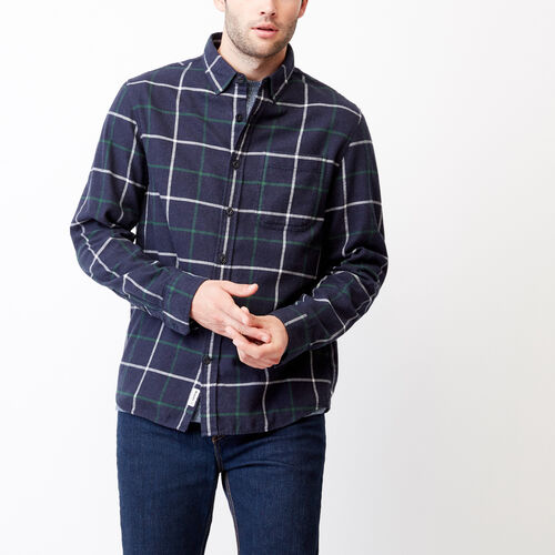 Roots-Men Tops-Nordic Flannel Shirt-Navy Blazer Mix-A