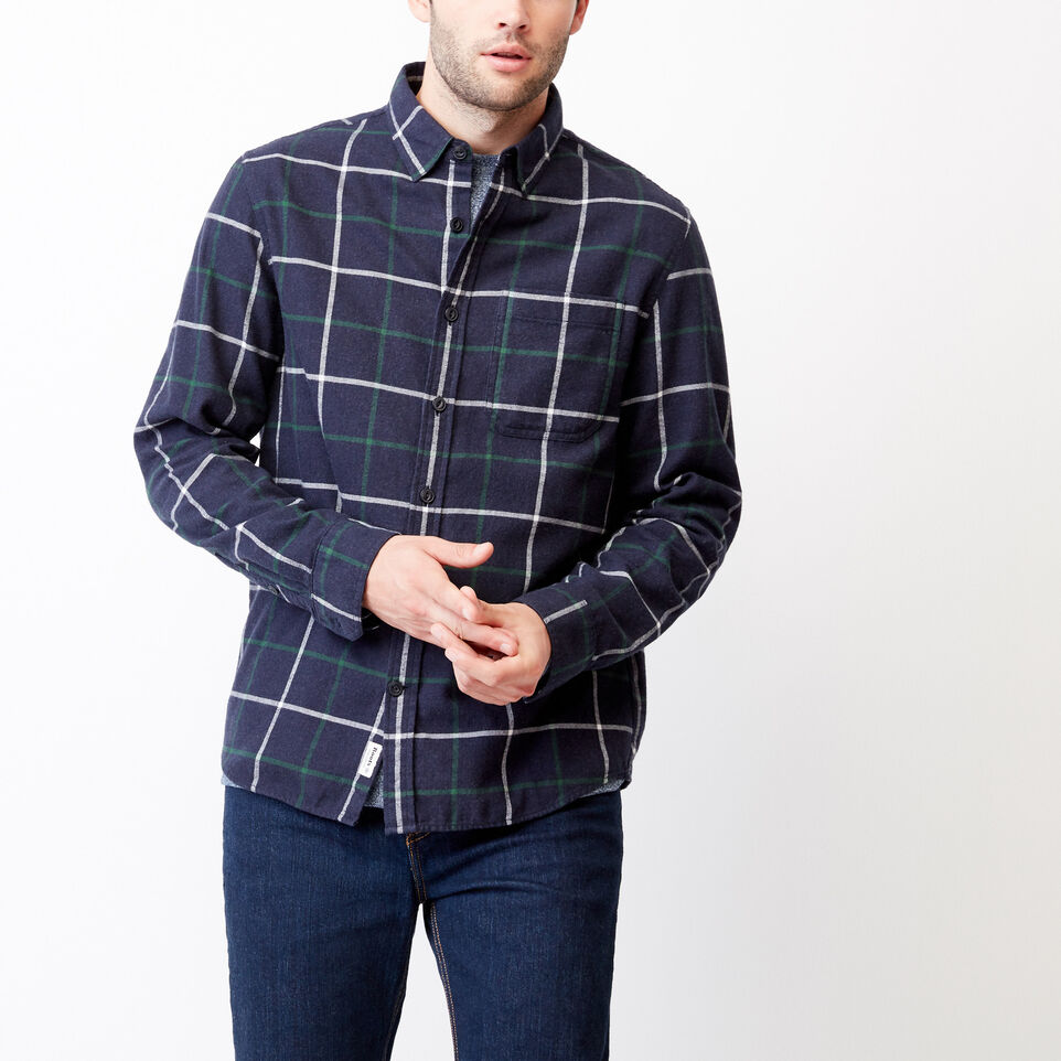 Roots-Men Our Favourite New Arrivals-Nordic Flannel Shirt-Navy Blazer Mix-A