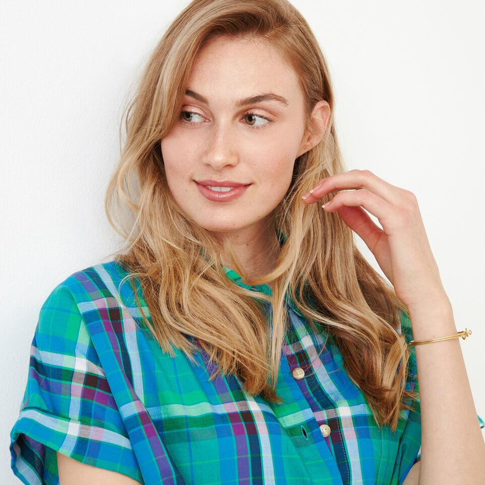 Roots-Women Categories-Alder Flat Madras Shirt-Sea Green-E
