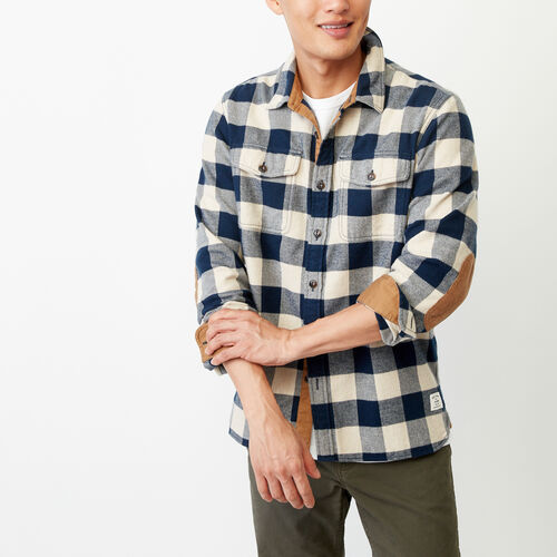 Roots-Men Tops-Park Plaid Shirt-Flaxseed Mix-A
