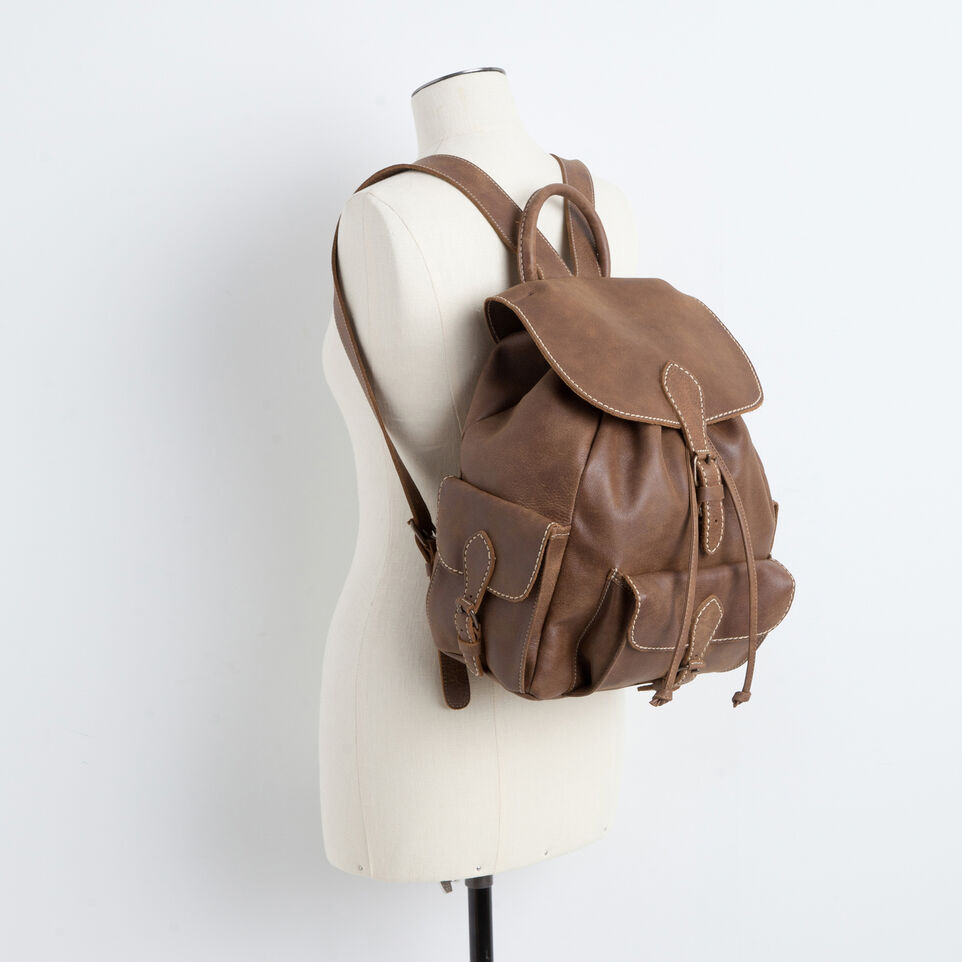 Roots-Leather Backpacks-Hiking Pack Tribe-Africa-B