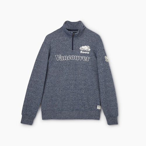 Roots-New For May City Collection-Vancouver Quarter Zip Stein - Mens-Blue Iris Pepper-A