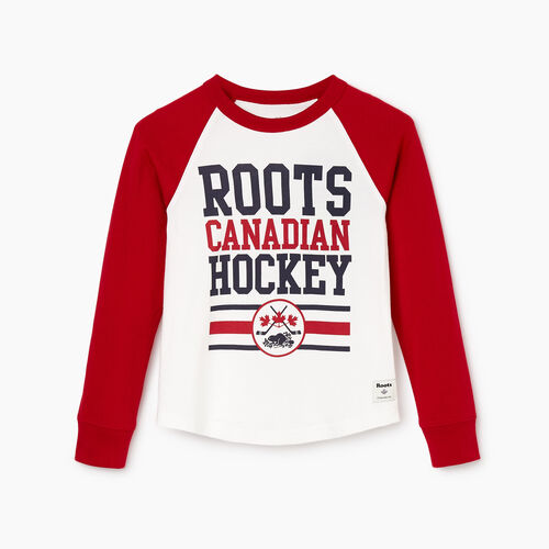 Roots-Kids Our Favourite New Arrivals-Boys Hockey Raglan T-shirt-Cabin Red-A