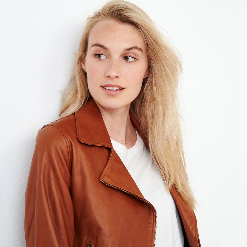 Roots-Leather Leather Jackets-Shay Jacket Vegetal-Tan-D