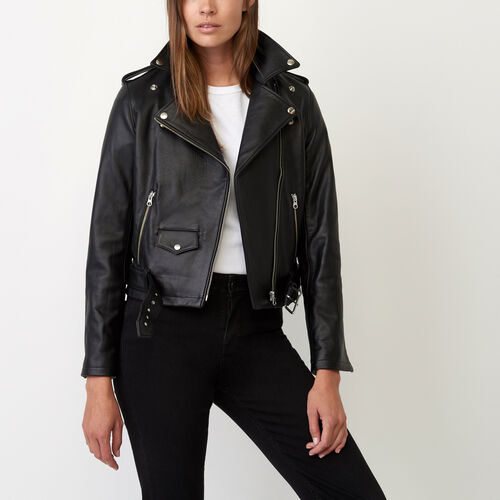 Roots-Women Leather Jackets-Moto Jacket Lake-Black-A