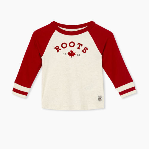 Roots-Kids T-shirts-Baby Cabin Baseball T-shirt-Cabin Red-A