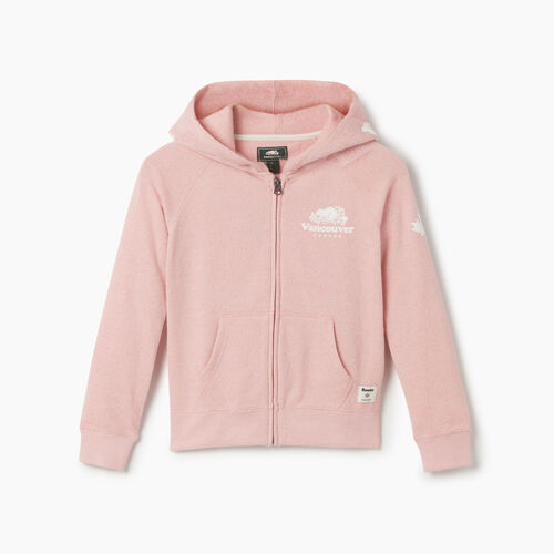 Roots-Sweats Girls-Girls Vancouver Ski City Full Zip Hoody-Dusty Blush-A