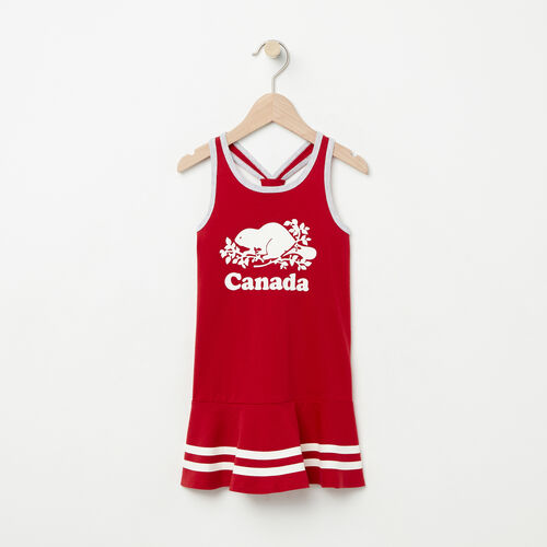 Roots-Kids Tops-Toddler Canada Cooper Dress-Sage Red-A