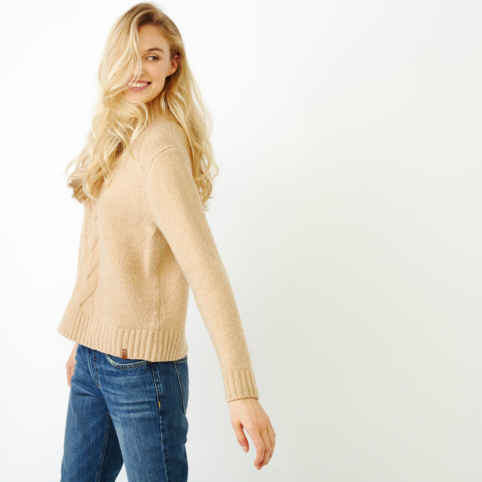 Roots-Women Tops-Nita Cable Sweater-Camel-C