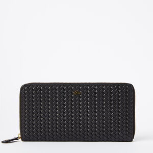 Roots-Leather Women's Wallets-Zip Around Wallet Woven-Black-A