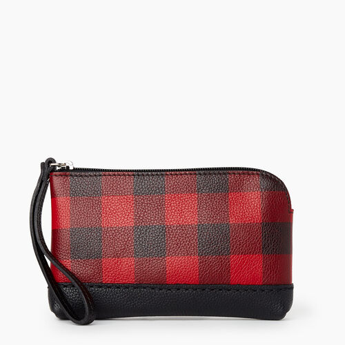 Roots-Leather New Arrivals-Park Plaid Zip Pouch Cervino-Cabin Red-A