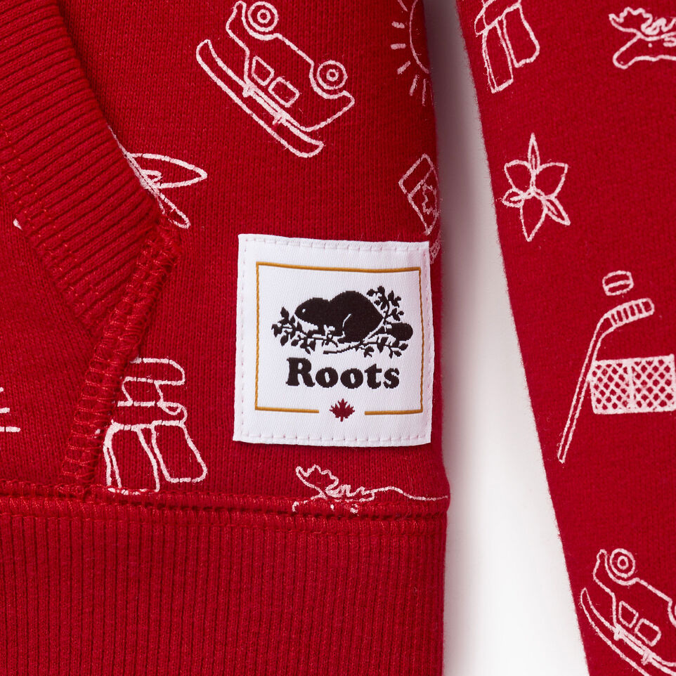 Roots-Kids Our Favourite New Arrivals-Girls Canada Aop Full Zip Hoody-Sage Red-C