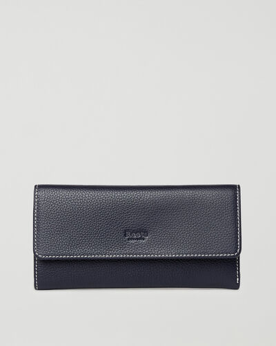 Roots-Leather Wallets-Medium Trifold Clutch Cervino-Navy-A