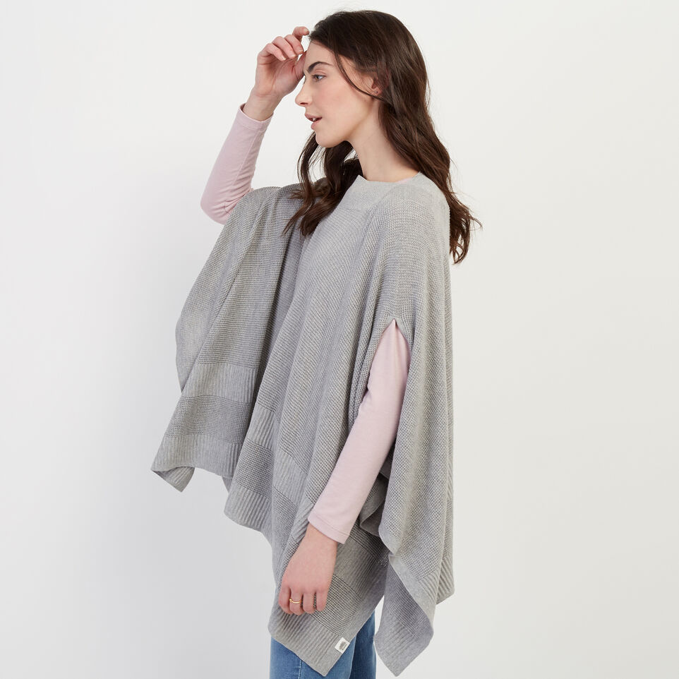 Roots-Women Our Favourite New Arrivals-Journey Poncho-Grey Mix-C