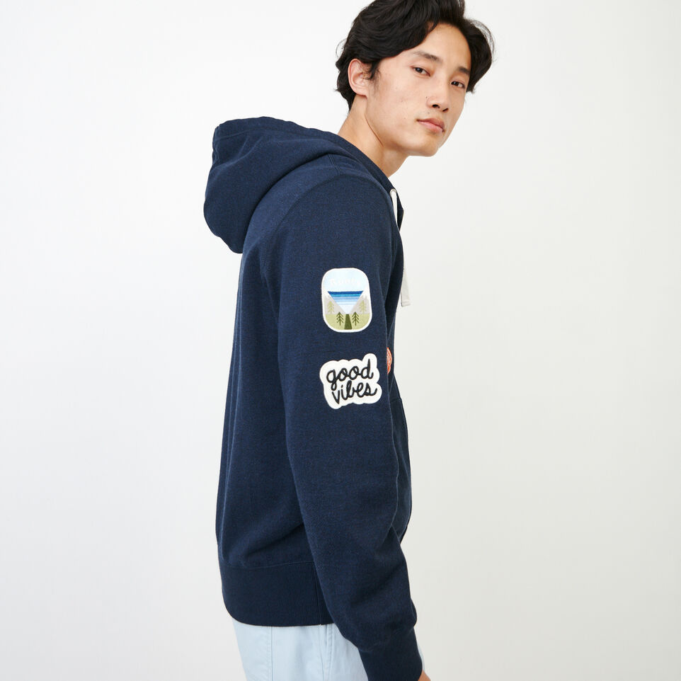 Roots-Men Our Favourite New Arrivals-Badges Full Zip Hoody-Navy Blazer Pepper-C
