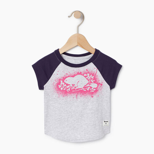 Roots-Kids Baby Girl-Baby Splatter Raglan T-shirt-Snowy Ice Mix-A