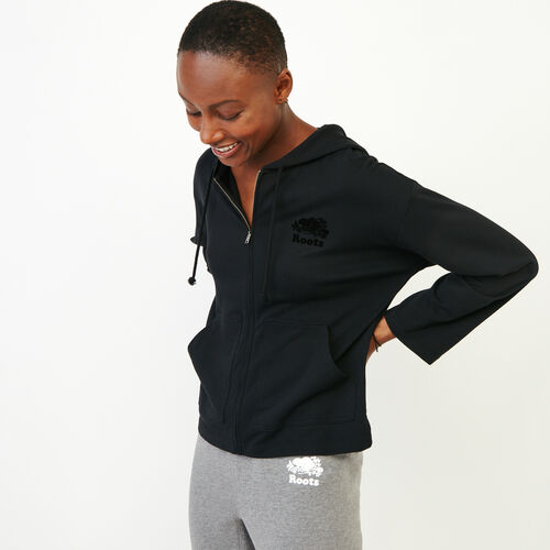 Roots-Women Tops-Summerside Zip Hoody-Black-A