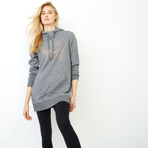 Roots-Women Categories-Bronze Metallic Tunic Kanga Hoody-Salt & Pepper-A
