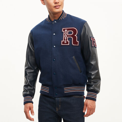 Roots-Leather  Handcrafted By Us Men's Award Jackets-Vintage Award Jacket-Navy/burgundy-A
