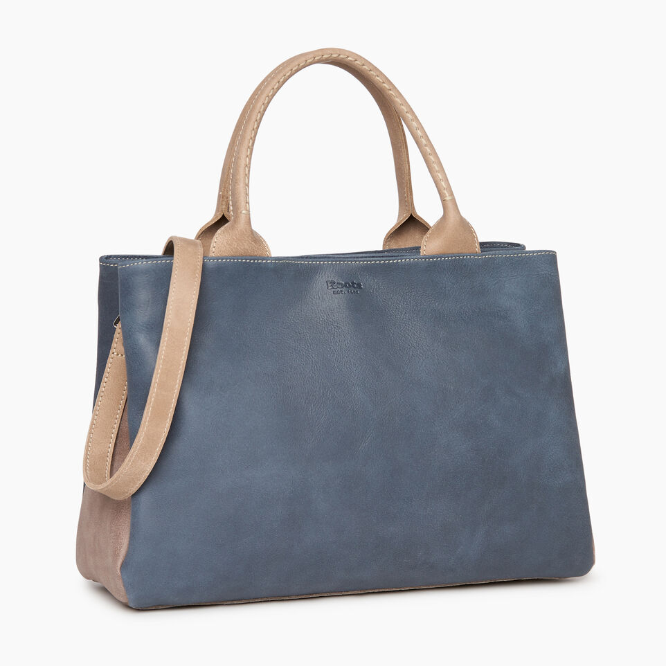 Roots-Leather Collections-Mont Royal Bag - Colour Block-Navy-A