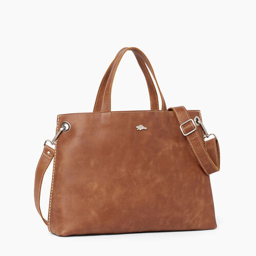 Roots-Leather  Handcrafted By Us Collections-Edie Tote Tribe-Natural-A