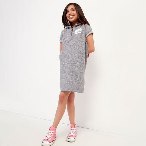 Roots-Sweats Girls-Girls Dockside Hooded Dress-Salt & Pepper-A