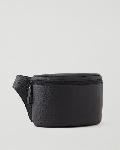 Roots-Leather Leather Bags-Extra Large Belt Bag Cervino-Black-A
