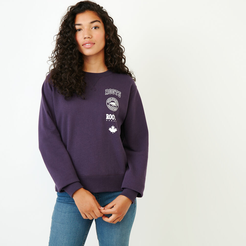 Roots-Women New Arrivals-Stamps Crew Sweatshirt-Night Shade-A