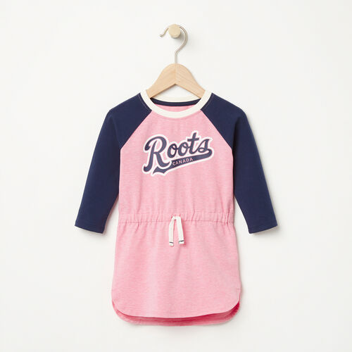 Roots-Kids Dresses-Baby Tracy Script Dress-Sea Pink Mix-A