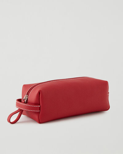 Roots-Leather New Arrivals-Medium Utility Pouch Cervino-Lipstick Red-A