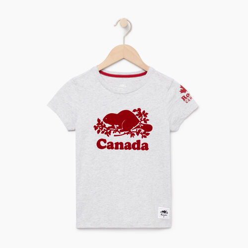 Roots-Kids Tops-Girls Canada T-shirt-Snowy Ice Mix-A