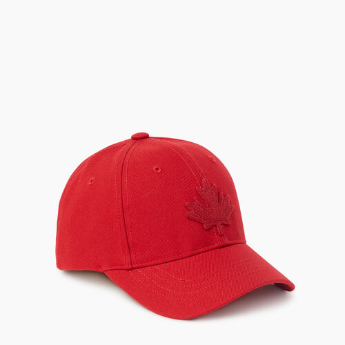 Roots-Kids Accessories-Kids Leaf Baseball Cap-Cabin Red-A