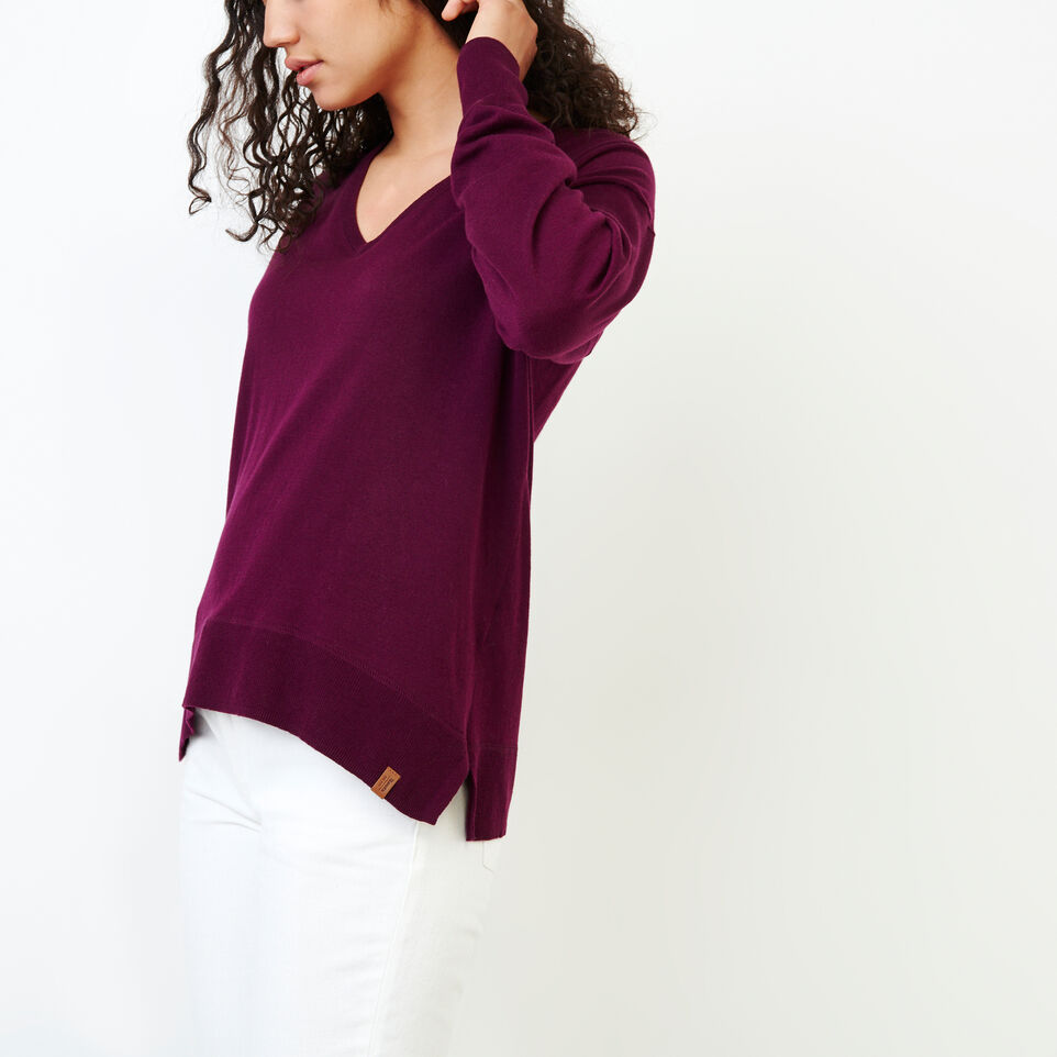 Roots-Women Categories-Fauna V Neck Sweater-Pickled Beet-C