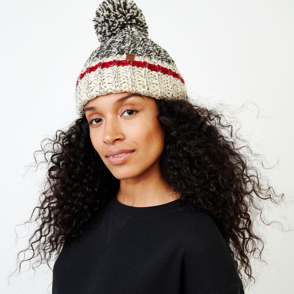 Roots-Women Hats-Chunky Cabin Pom Pom Toque-Grey Oat Mix-A