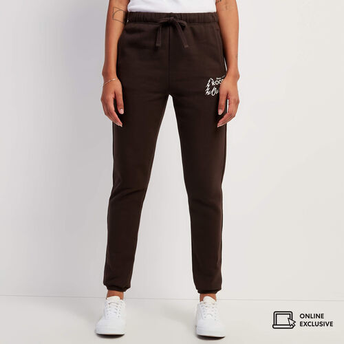 Roots-Sweats Sweatpants-Outdoors Slim Cuff Sweatpant-Coffee-A