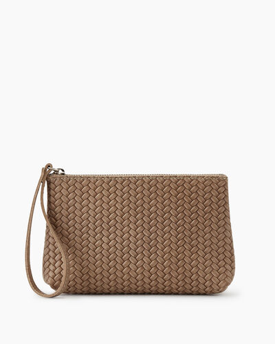 Roots-Leather New Arrivals-Wristlet Pouch Woven-Sand-A