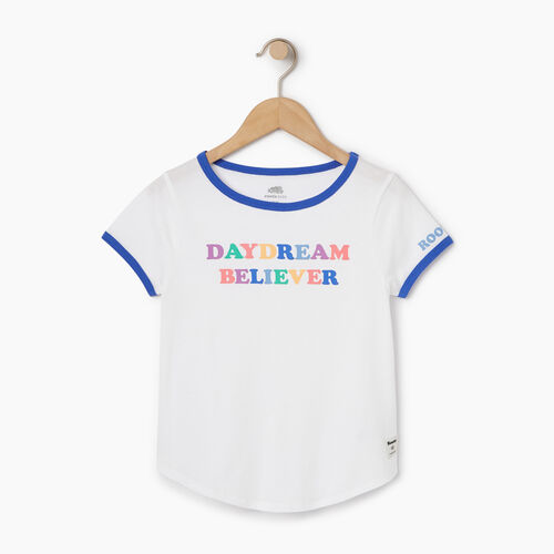 Roots-Clearance Kids-Girls Rainbow Ringer T-shirt-Ivory-A