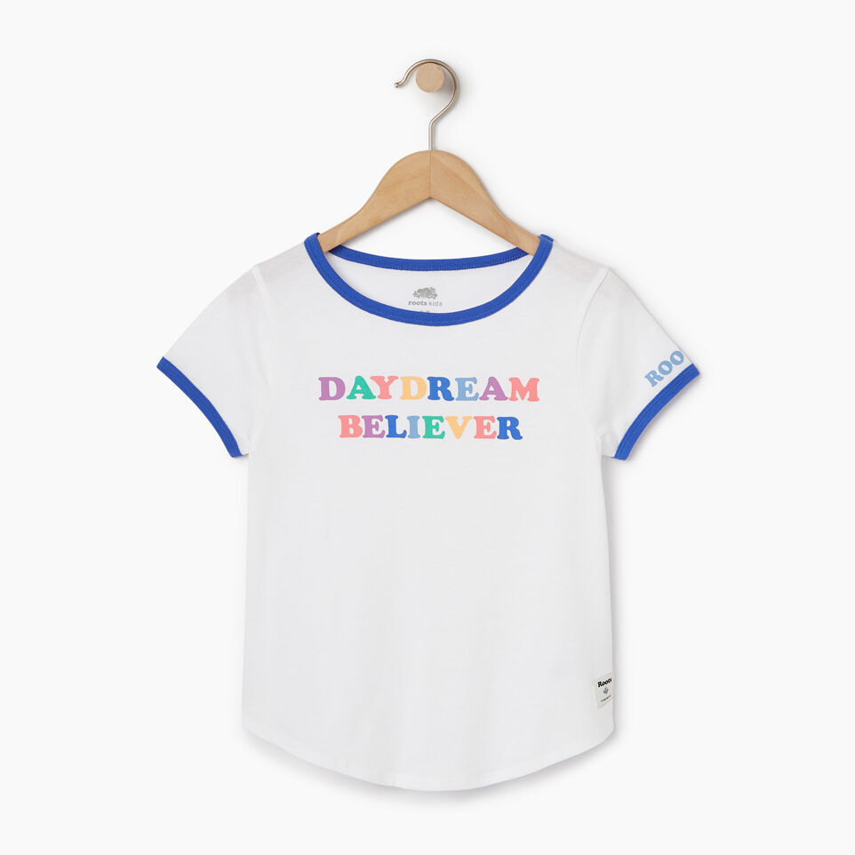 Roots-Kids Our Favourite New Arrivals-Girls Rainbow Ringer T-shirt-Ivory-A