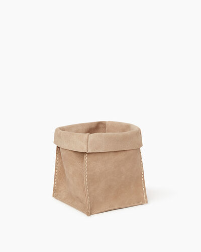 Roots-Leather Roots Home-Medium Rollover Basket Tribe-Sand-A