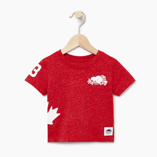 Roots-Kids Our Favourite New Arrivals-Baby Bedford T-shirt-Sage Red Mix-A