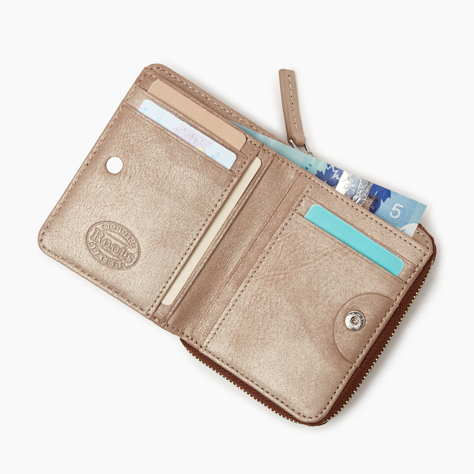 Roots-Women Categories-Small Zip Wallet-Champagne/ Natural-C