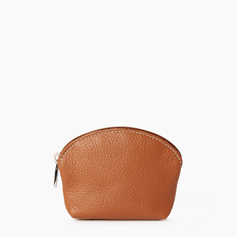 Roots-Leather Categories-Small Euro Pouch-Caramel-A
