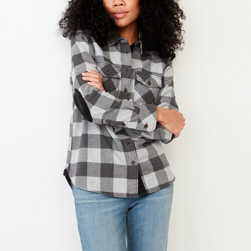 Roots-Winter Sale Women-Park Plaid Shirt-Charcoal Mix-A