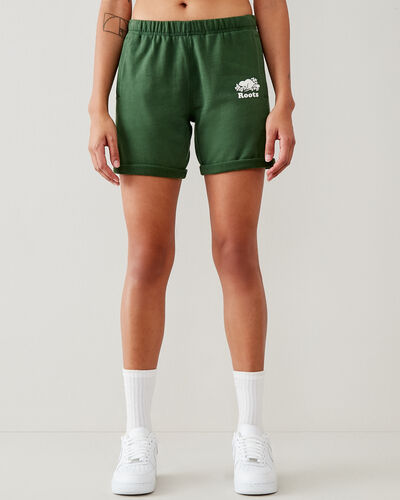 Roots-Shorts Women-Original Longer Sweatshort 8 In-Camp Green-A
