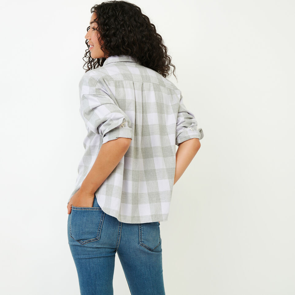 Roots-Women Clothing-Box Cut Flannel Shirt-Thistle-E