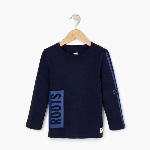 Roots-Kids T-shirts-Toddler Roots 1973 T-shirt-Navy Blazer-A
