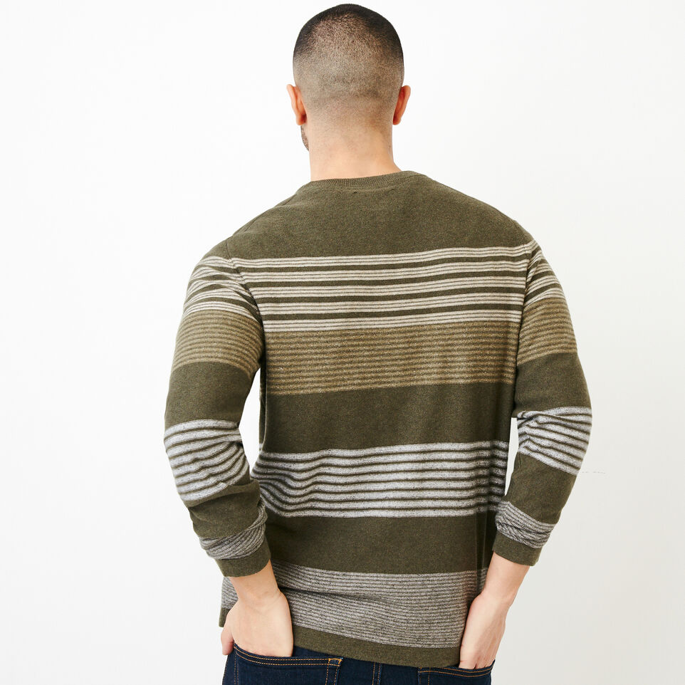 Roots-Men Our Favourite New Arrivals-Canoe Lake Stripe Crew Sweater-Fatigue Mix-E