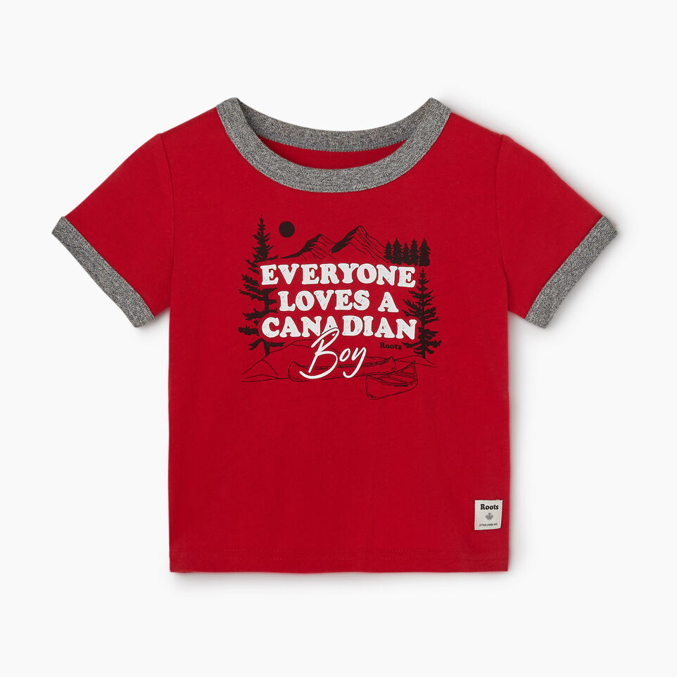 Roots-Kids New Arrivals-Baby Canadian Boy Ringer T-shirt-Sage Red-A