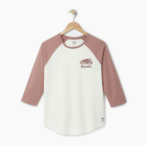 Roots-Women Tops-Womens Cooper Baseball Top-Vintage White-A